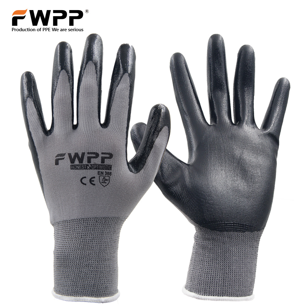 FWPP 3 Pairs Nylon Knit Nitrile Coated Work Gloves Garden Anti-skid Wear Resistant Soft and Comfortable Gray Black M L XL oil free comfortable cheap nitrile gloves white nylon knitted hands protection gloves white mechanic construction industry