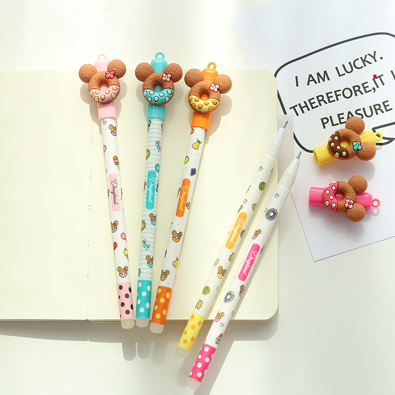 Image 3 - 30 pcs/Lot Sweet bear cookie pens for signature writing  0.5mm Erasable gel ink pens Kids gift Office school supplies FB440-in Gel Pens from Office & School Supplies