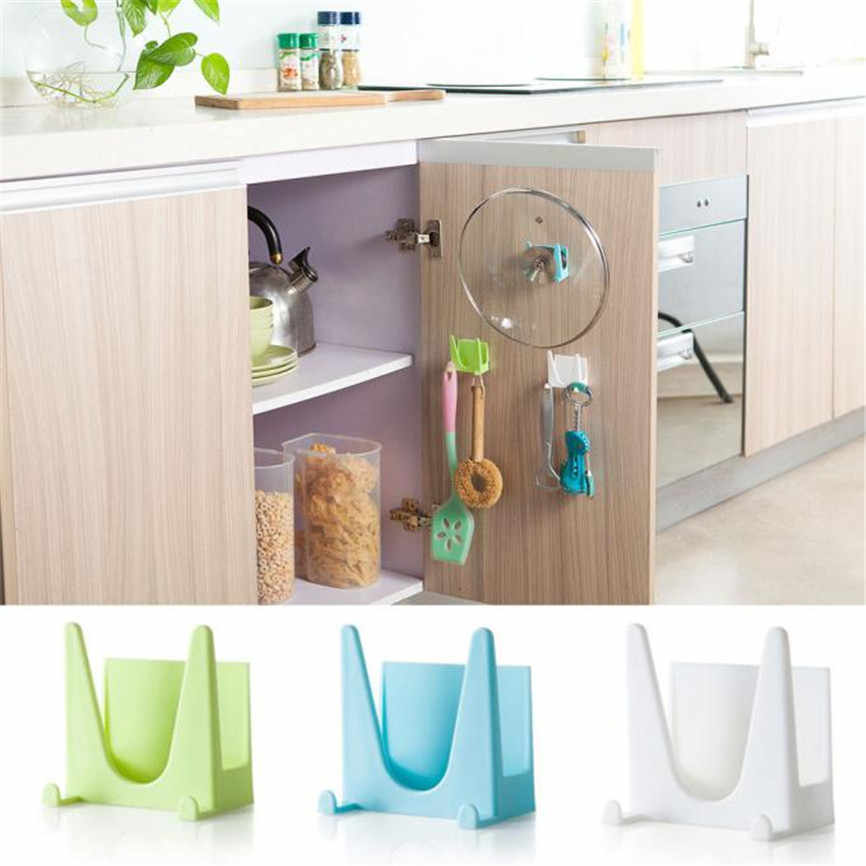 Wall Housekeeper Plastic Kitchen Pot Pan Cover Shell Cover Sucker Tool Bracket Storage Organizer Rack Hanger Storage Rack Holder