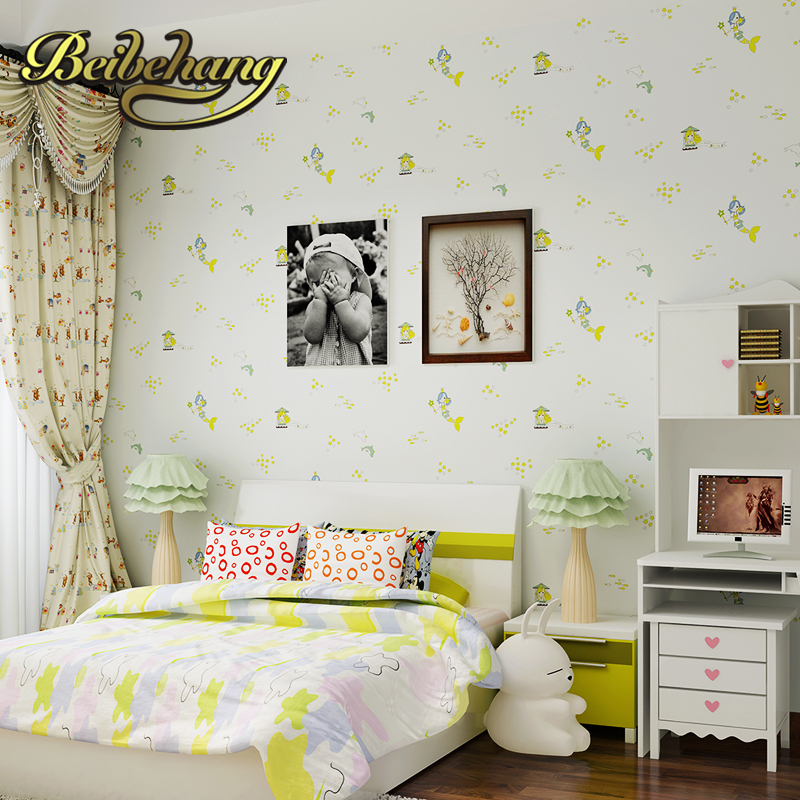 beibehang wall paper. Pune girl room cartoon children's room bedroom shop for environmental non-woven wallpaper ocean mermaid beibehang wallpaper high grade environmental protection non woven wallpaper girl boy room room striped wall paper car children