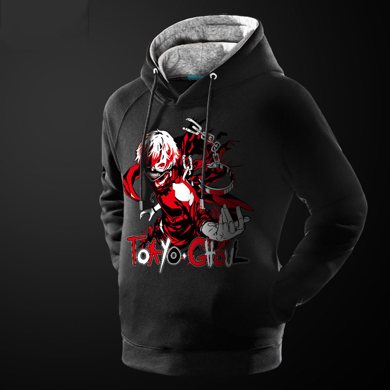 Tokyo Ghoul Sweatshirts Mens Luminous Anime Hoodie Youth Male Winter Thick Coat Black 4XL