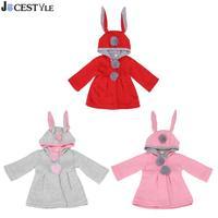 Cute Rabbit Ear Hooded Baby Girls Coat Tops Kids Warm Jacket Outerwear Children Clothing Baby Wear