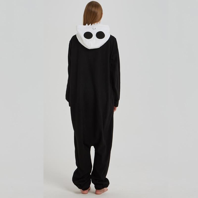 Skull Kigurumi Onesie Adult Women Scary Skeleton Pajamas Flannel Warm Loose Soft Sleepwear Onepiece Winter Jumpsuit Cosplay (2)