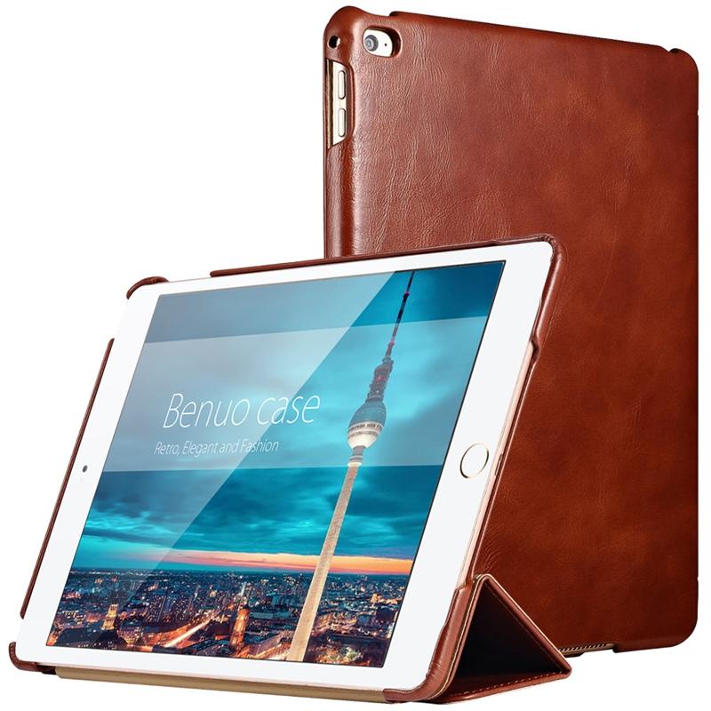 Prix pour Pour iPad Mini 4 Housse Benuo Véritable En Cuir Ultra-Mince Pliage couverture Avec Debout Boîtier Étanche Pour Apple iPad Mini 4 Nouveau
