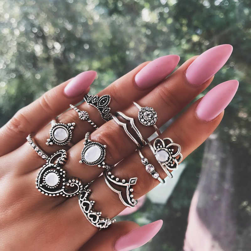 12 Pcs/set Bohemia Antique Silver Elephant Flower Heart Crown Carved Rings Set Knuckle Finger Midi Ring for Women Jewelry