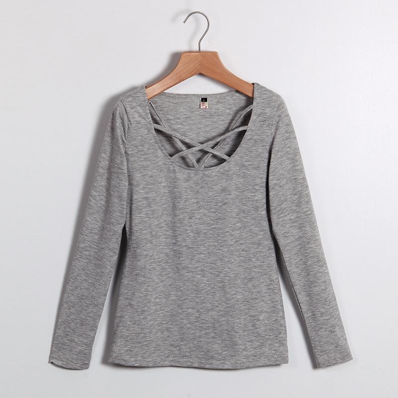 2017 Musim Gugur T Shirt Wanita Lengan Panjang Slim Fit Fashion - Pakaian Wanita - Foto 4