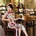Китайская Национальная Ветер Долго Qipao Платье The daily Show Cheongsam Восстановление Печати Цветы Высокого отверстие Платье