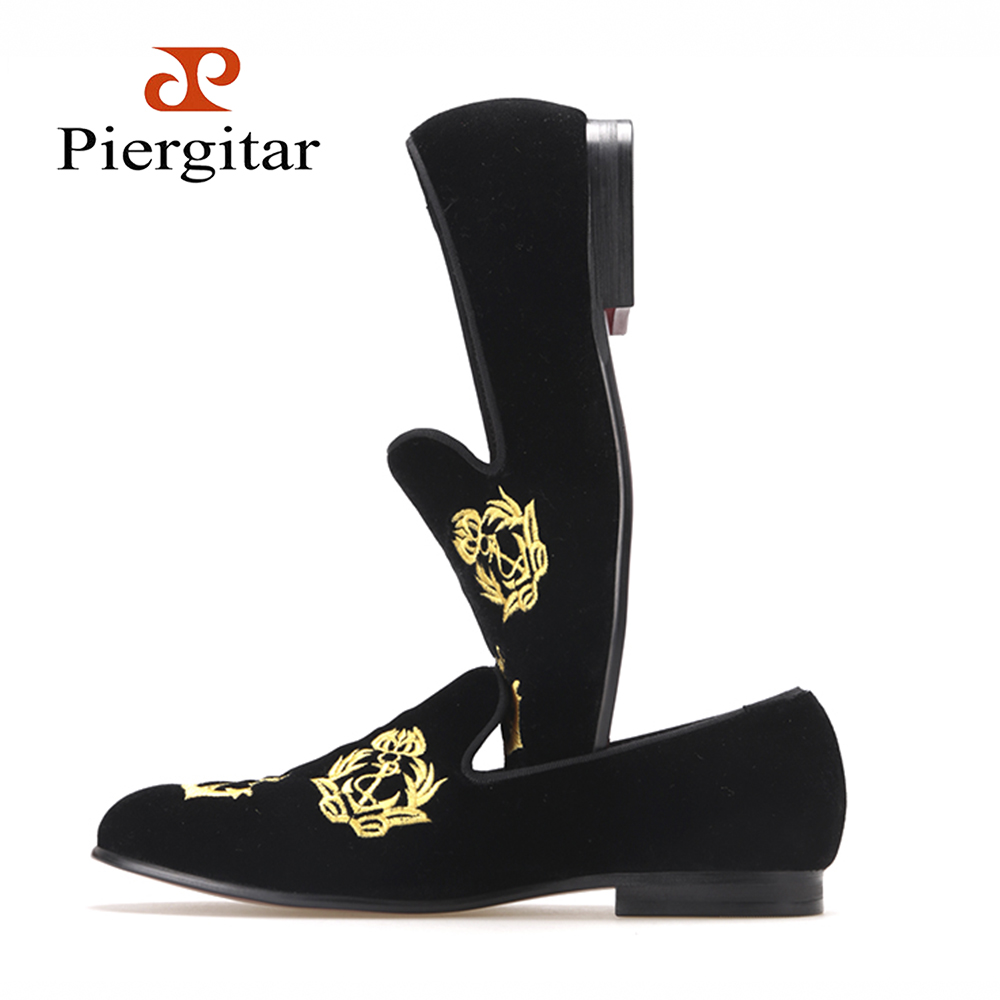 Piergitar new style Handmade Men Velvet shoes with luxurious embroidery Leather and Satin lining Party and Banquet Men Loafers new handmade men fashion party and