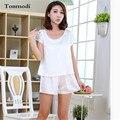 Новые Летние Пижамы Женщин С Коротким Рукавом Атласные Пижамы Белый Шелк Пижамы Шорты Женщин гостиная Пижамы Устанавливает Девушки Пижамы