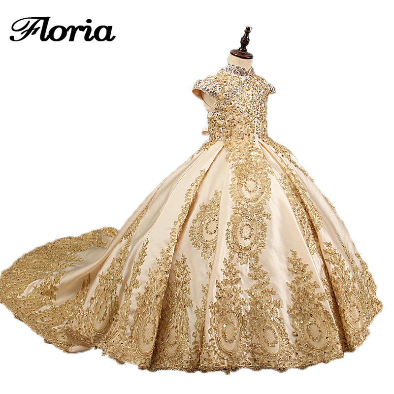 Vestido daminha gold   flower     girl     dresses   for wedding beaded kids evening ball gowns long little   girls   pageant   dresses   with train