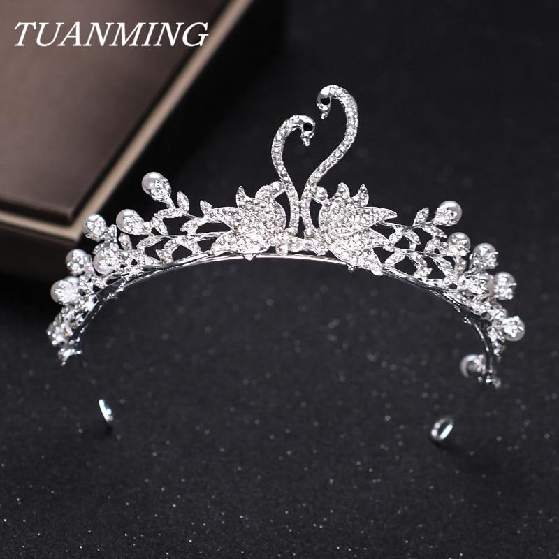 Silver Pearl Rhinestone Swan Crown Brides Tiata Wedding Headdress Hair Ornaments Bride Princess Crown Gril Gift
