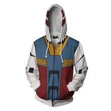 Komórka garnitur GUNDAM kostiumy GUNDAM bluzy Cosplay 3D drukowane bluza na zamek moda kreskówki z kapturem swetry, kurtki