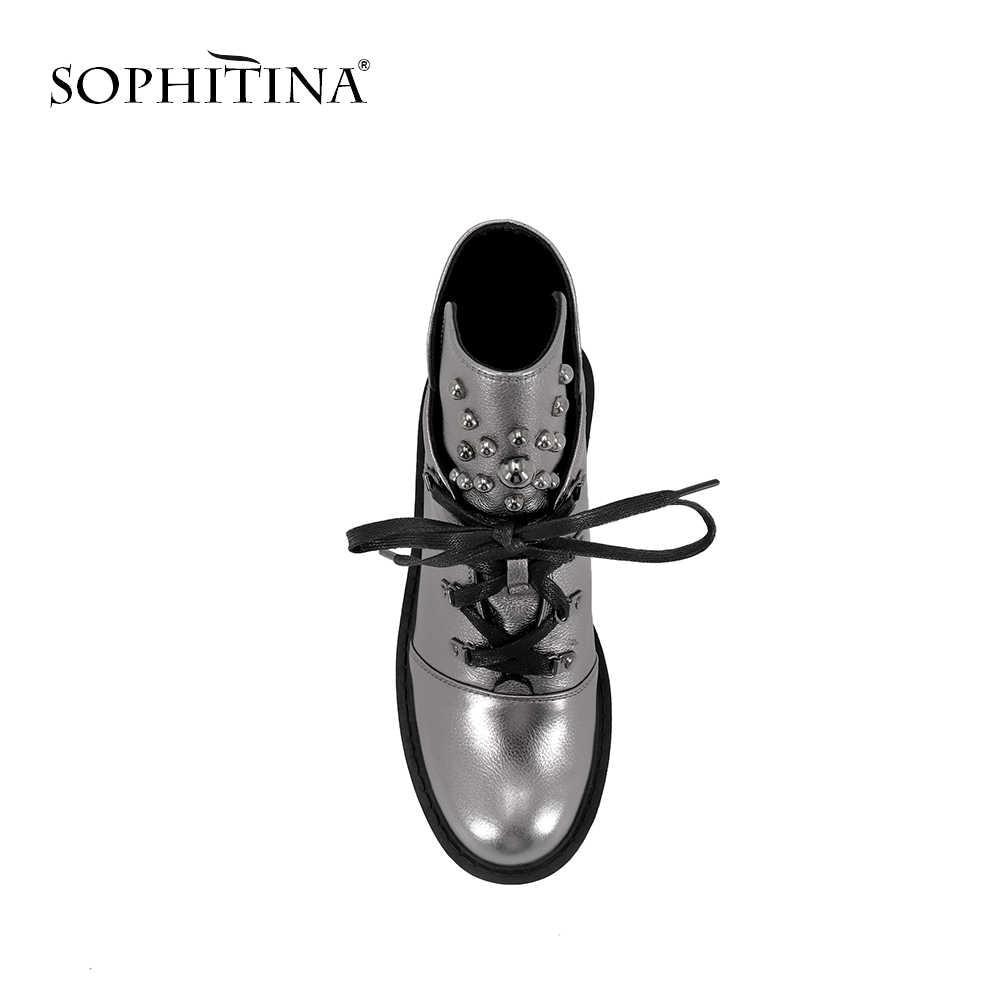 SOPHITINA รองเท้าข้อเท้าใหม่คุณภาพสูงวัวหนัง LACE-up รองเท้าสตรีแฟชั่นส้นอบอุ่นสั้น Plush ฤดูหนาวรองเท้า M42