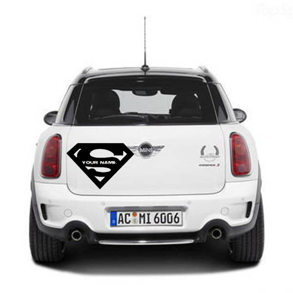 Custom name superman logo cars wall stickers home decor car styling vinyl art wall decals quote lettering car window sticker in wall stickers from home