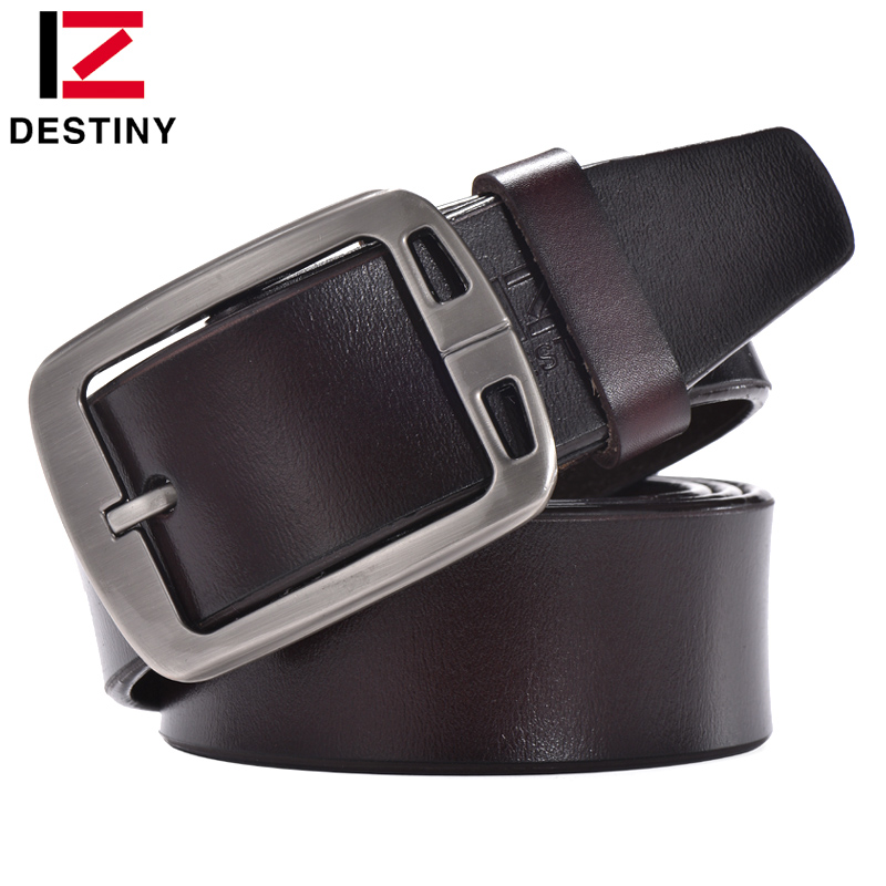 DESTINY Cow Genuine Leather Belts For Men Luxury Famous Brand Designer Strap Male Pin Buckle Vintage Jeans Wide cinto masculino