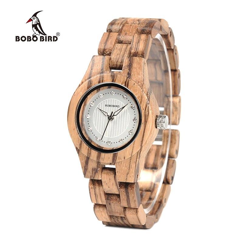 BOBO BIRD Watch mujeres bambú Zebra gemas de madera imitan relojes de cuarzo de marca de lujo en caja de madera XFCS reloj femenino W-O29