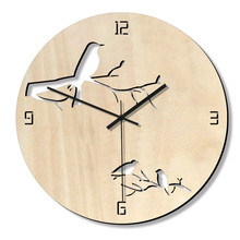 Home decor hollow round wall clock creative decor mute wood bird clock wall hangings