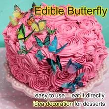 Edible butterflies for cake,34pcs 3D edible butterfly cake decorations,idea decoration cake,edible paper