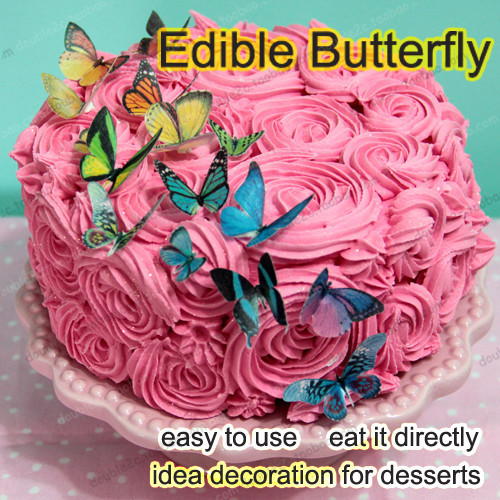 Edible butterflies for cake 34pcs 3d edible butterfly cake for How to make edible cake decorations at home