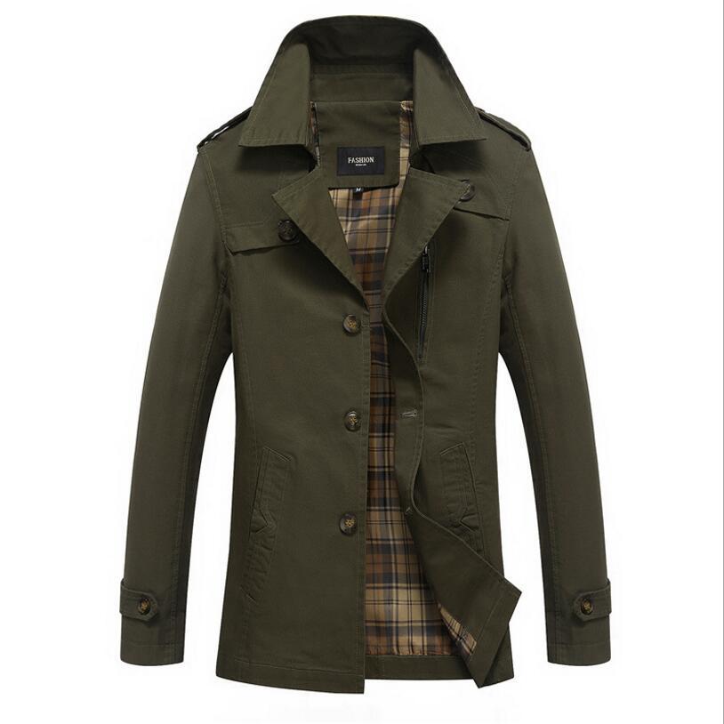 CLASSDIM Men   Trench   Coats New Male Smart Casual Windbreaker Long Jackets Men Cotton Single Breasted   Trench