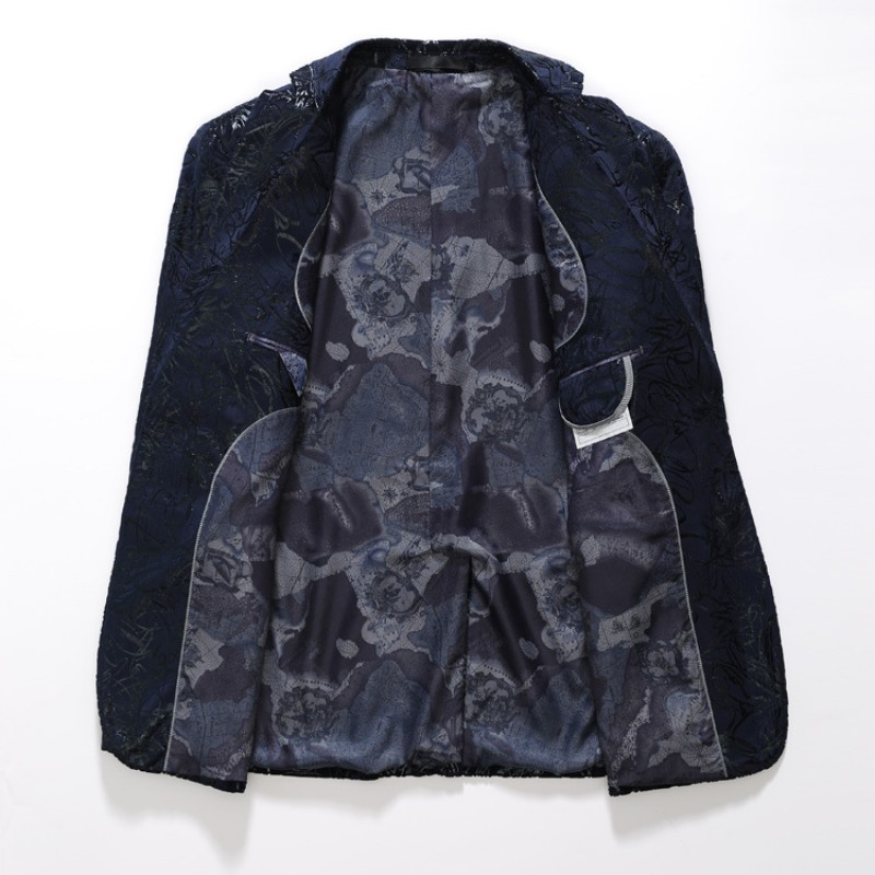 Haute qualité marque homme vêtements angleterre Style unique boutonnage impression décontracté hommes Blazer Slim Fit Blazer Masculino grande taille - 3