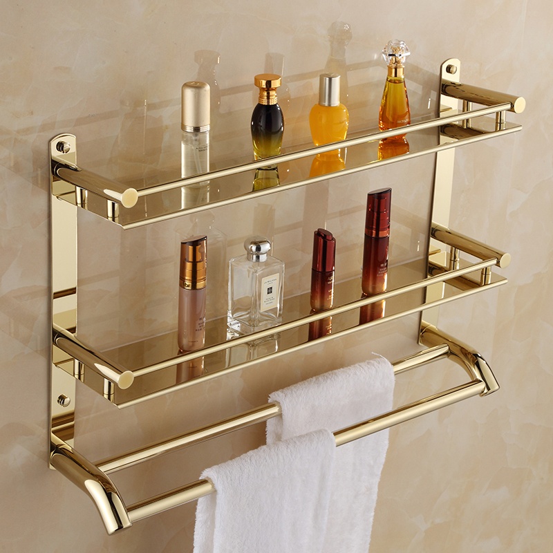Bathroom stainless steel towel rack bathroom double towel rack wall hanging folding 2 - layer gold bathroom rack sucker bathroom towel rack stainless steel bar folding frame multi pole hanging