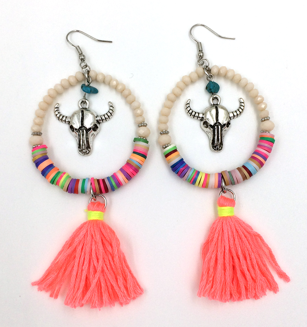 2016 New Crystal Beads Dangle Earrings With Cotton Tassel Summer Style Bull Skull Tauren Taurus