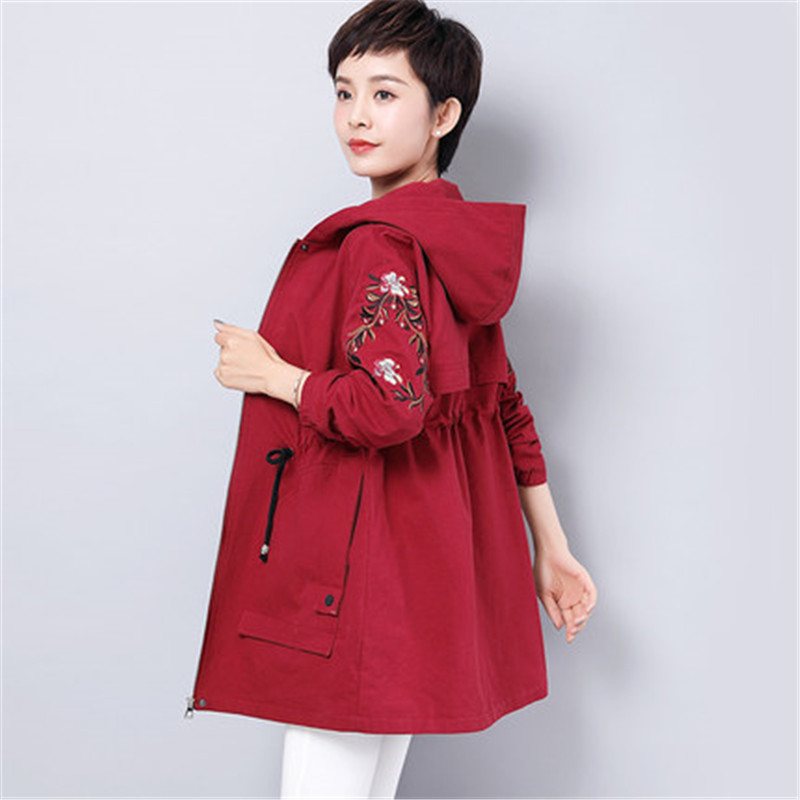 2019 New Spring Autumn Korean Hooded Long   Trench   Coat Women Large Size Embroidery Windbreaker Female Middle-aged Overcoats X490