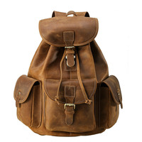 Vintage Cowhide Unisex Bag Top Quality Leather String Cover Closure Backpack Traveling Package For Men And Women PR0031653