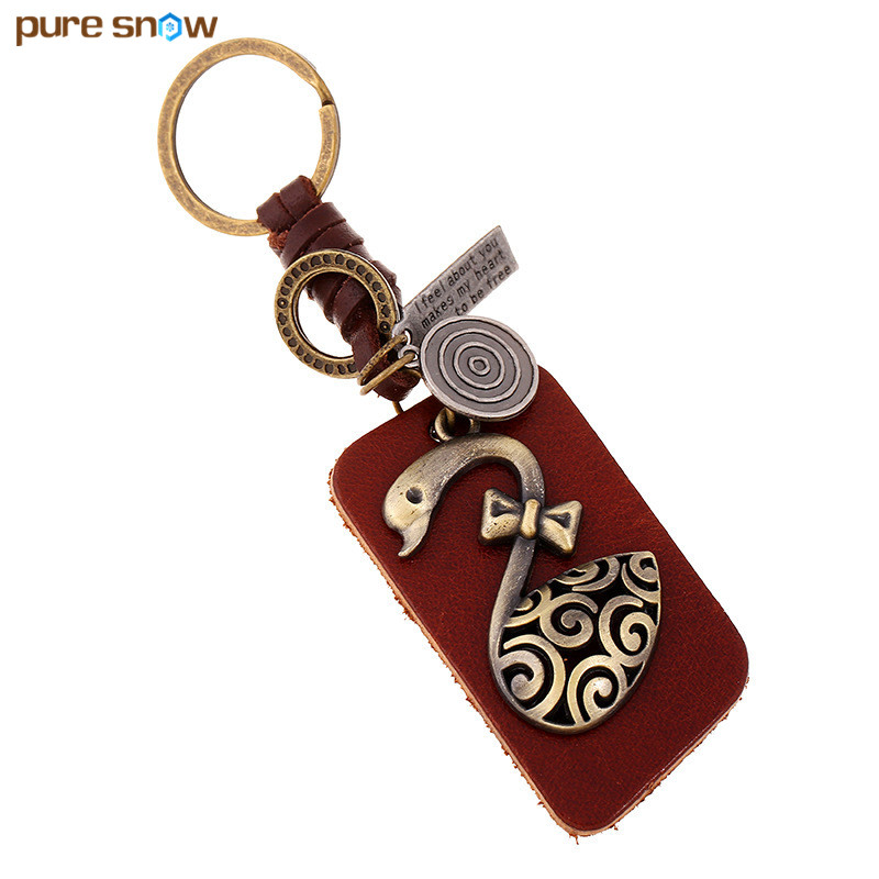 Pure Snow Wholesale Handmade Creative Bronze Swan Cowhide Key Ring Retro Alloy Car Key Chain Men And Women Pendant Jewelry