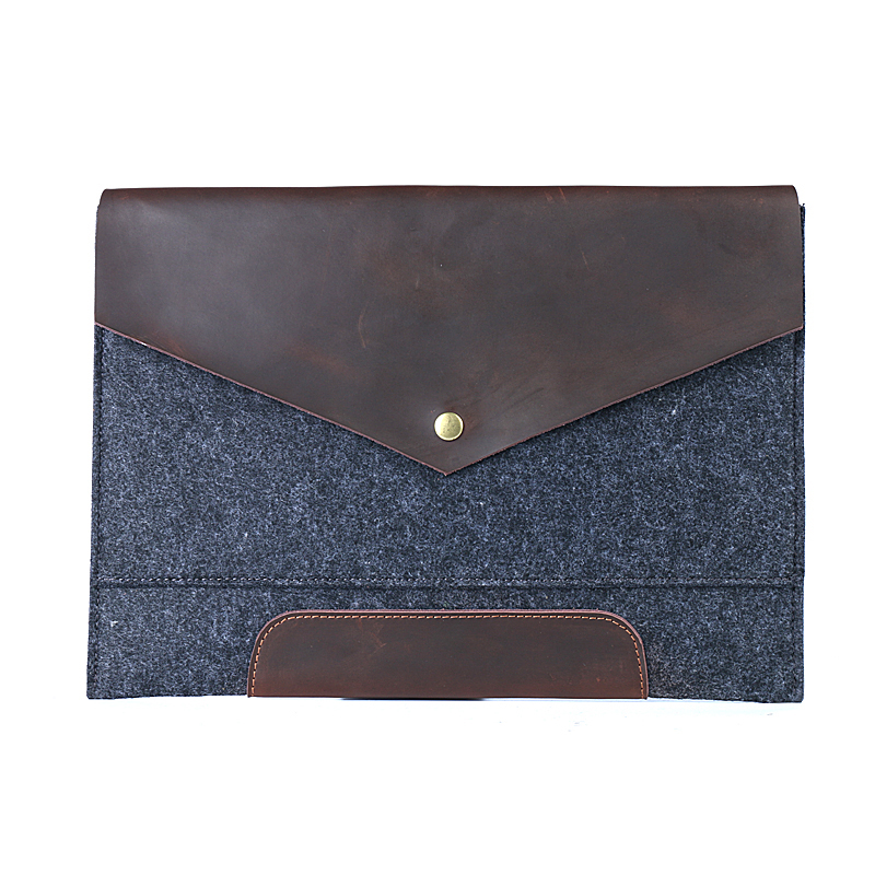 A4 File Folder Felt with Nature Leather Big Capacity File Bag Portfolio Business Organizer Document Folder Filing Products Gifts yinte men s leather file folder bag a4 paper leather file document folder clutch wallets business zipple bag portfolio t5480a