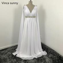 Греческий стиль Свадебные платья с Ватто Поезд v-образным вырезом Длинные Chiffon Grecian пляжные свадебные платья для беременных Grecian Bridal