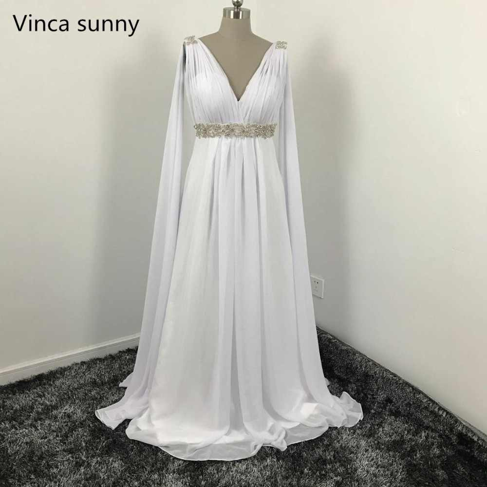 Grecian Wedding Dress.Greek Style Wedding Dresses With Watteau Train 2019 V Neck