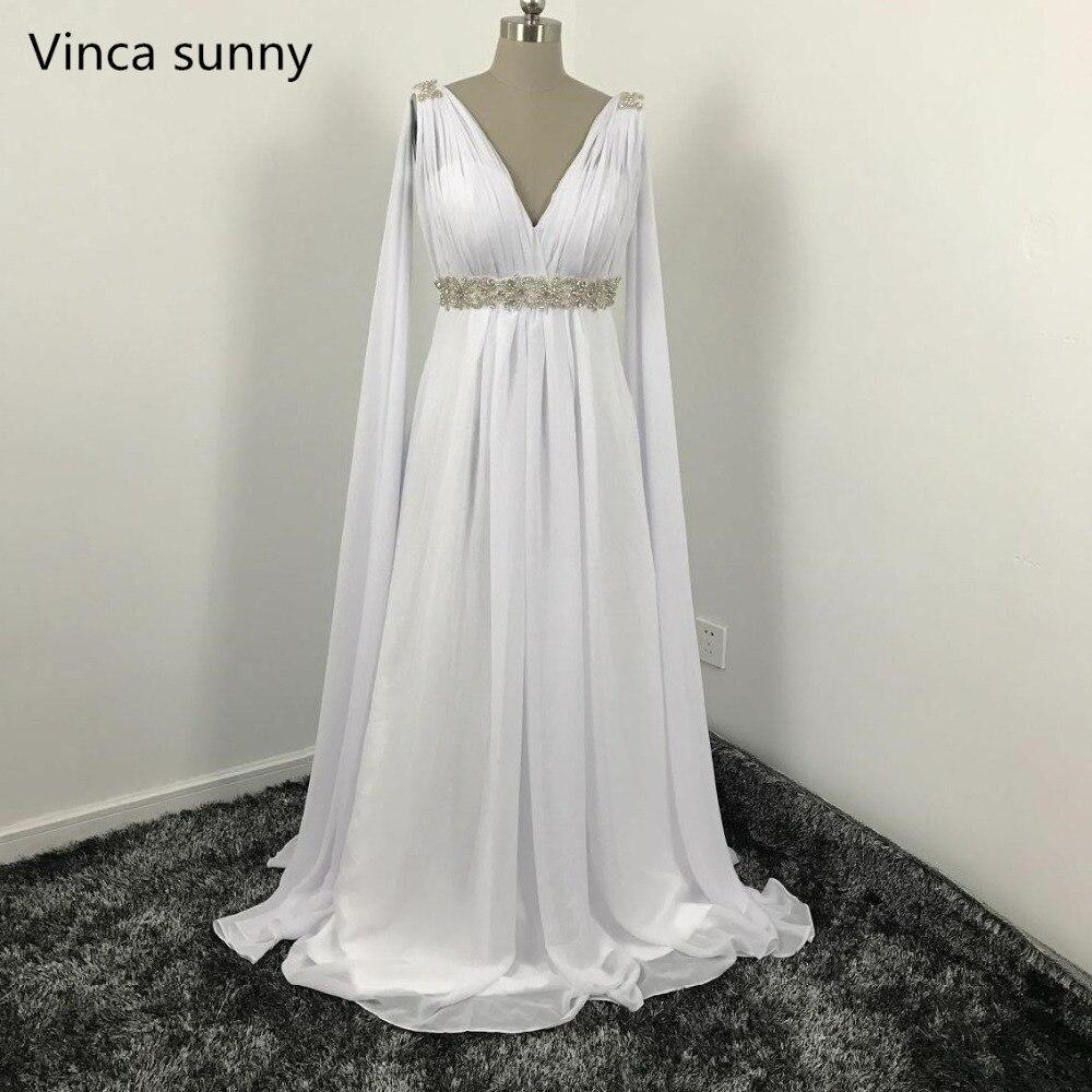 Grec Style Robes De Mariée avec Watteau Train 2018 Col V Longue Mousseline de soie Grecian Plage Maternité Robes De Mariée Grecque Mariée