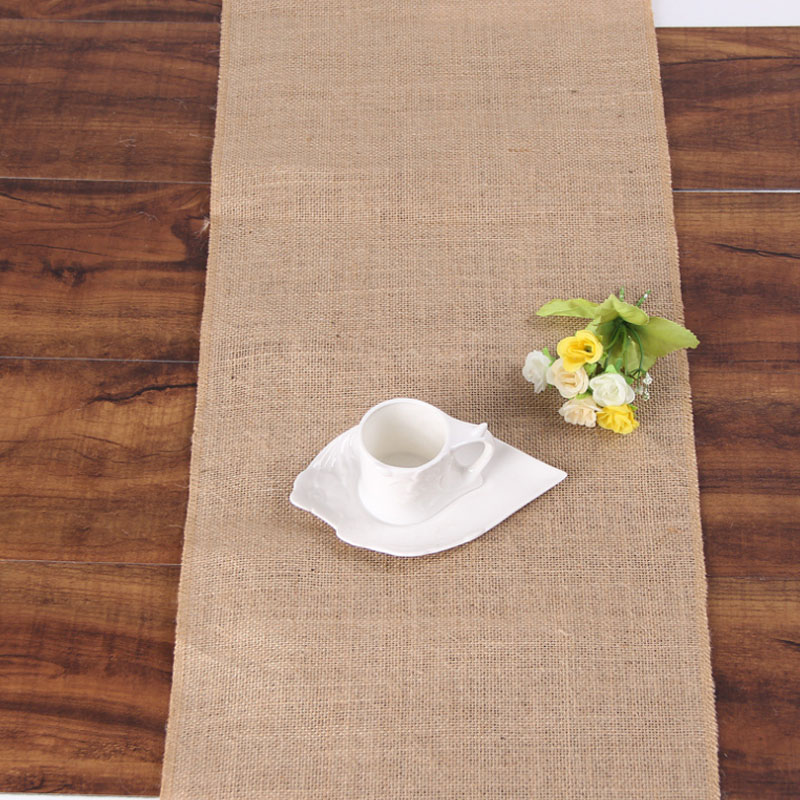 HAZY Vintage Natural Burlap Jute Linen Table Runner Wedding Birthday Party Christmas New Year Dining Table Home Decoration