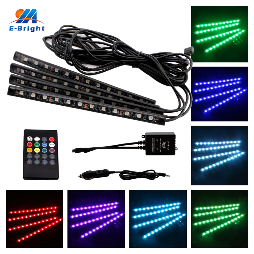 1set RGB 5050 4x12SMD LED Strip LEDs Waterproof Car Light Strips with Remote Controller Auto Lights Good Quality Free Shipping smd 5050 rgb waterproof ip65 300 led strip light 44keys ir remote controller 12v 5a power adapter full set good quality