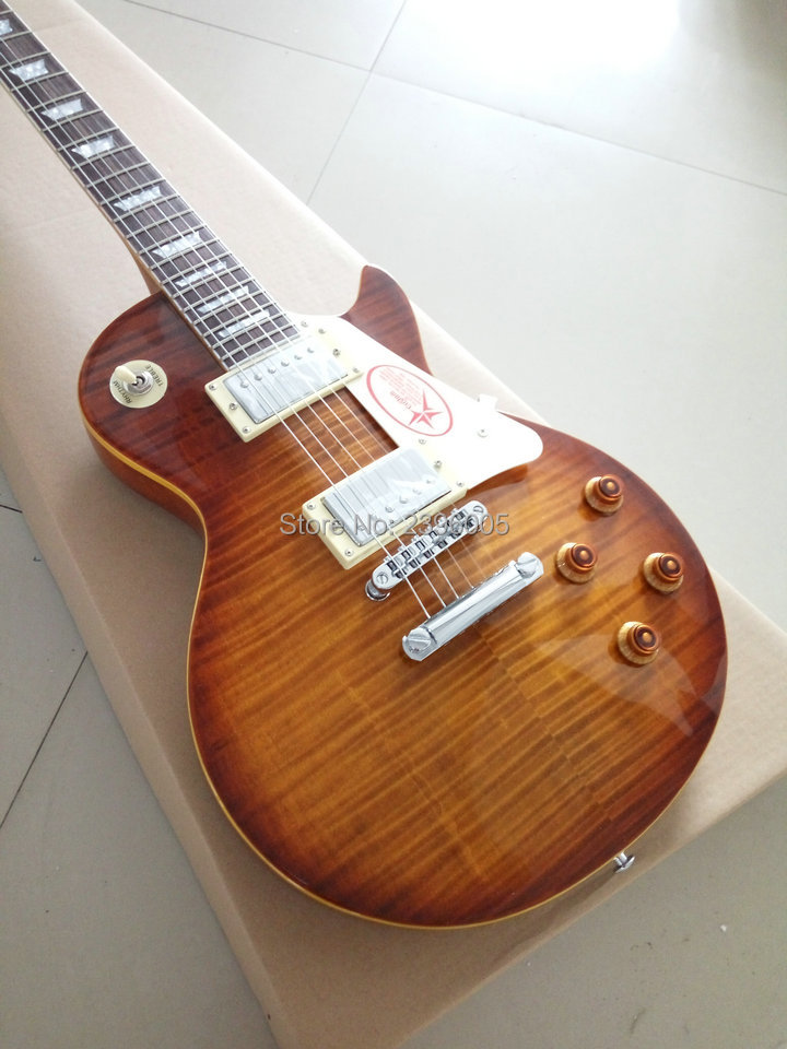 Hot lp guitar Custom shop 1959 R9 les Tiger striped maple cover wax pickups LP Standard electric guitar Free shipping in stock new 1959 r9 les tiger flame paul electric guitar standard lp 59 standard in stock ems fast shipping vintage sunburst terry burst