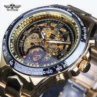 Montre Homme Winner New Number Sport Design Bezel Golden Watch Mens Watches Top Brand Luxury Clock
