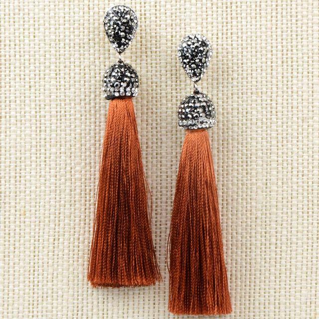 Long Tassel Crystal Bohemian Earrings