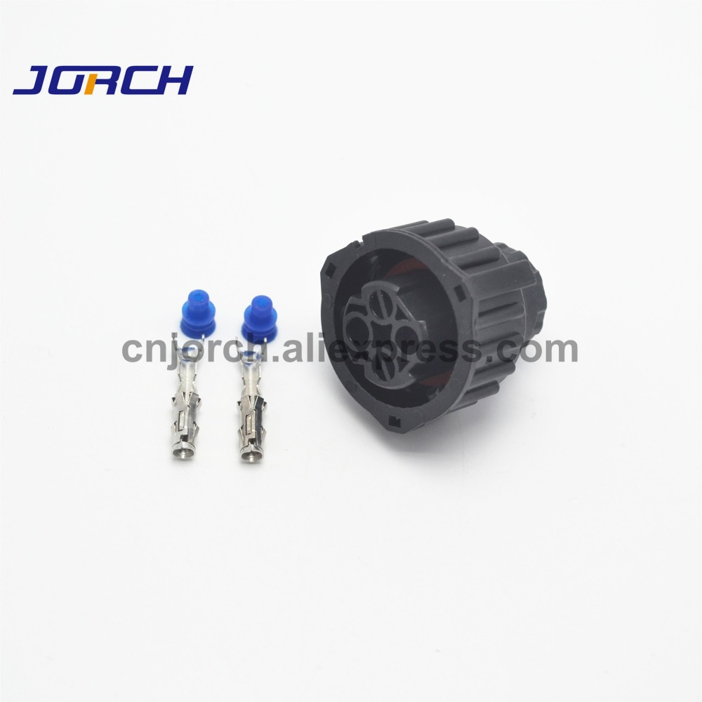 5 Sets 2 Pin AMP Automotive Female Waterproof Connector Wire Electrical Round Plug 1-967325-3