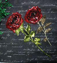 Rojo de oro lentejuelas rosas pegatinas bordado de perlas ropa tabletas diy parche ropa camiseta accesorios a081