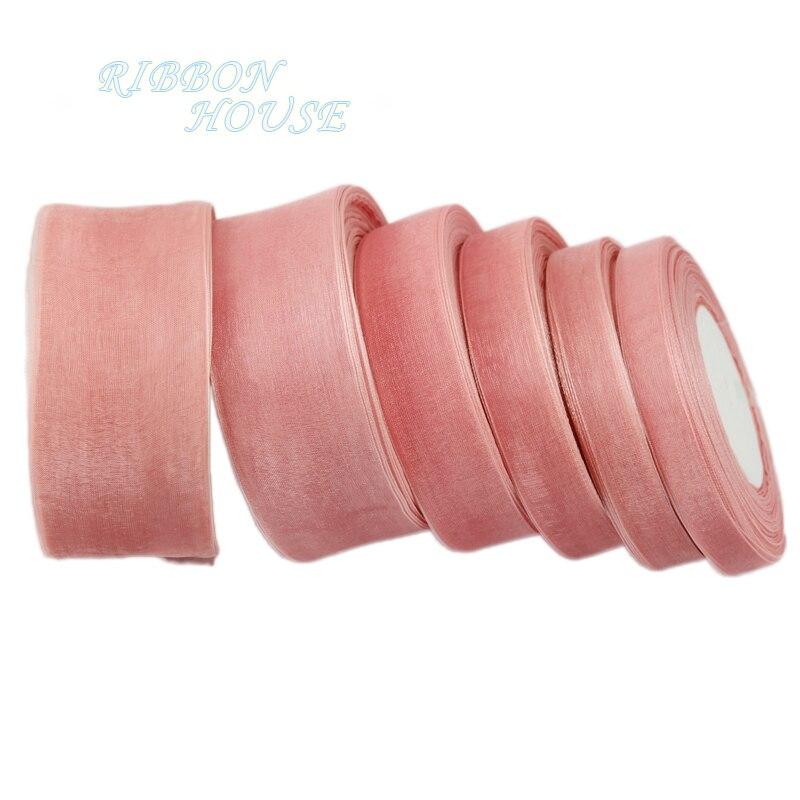(50 ярдов/roll) розовый мясо органза лентами оптовая продажа подарочной упаковки украшение ленты 12/15/20/25/40/50 мм