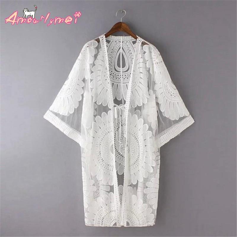 Hot Sale Blusas Femininas 2020 Sumemr New Fashion Women Casual Loose Crochet Lace Long Kimono Cardigan Tops Blouses Beige White