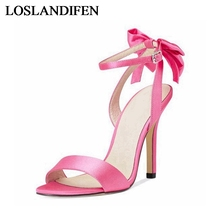 цены Women Gladiator Sandals Silk Bow Fashion Sexy Party Thin Super High Heels Stilettos Solid Buckle Ankle Strap Shoes TL-A0026