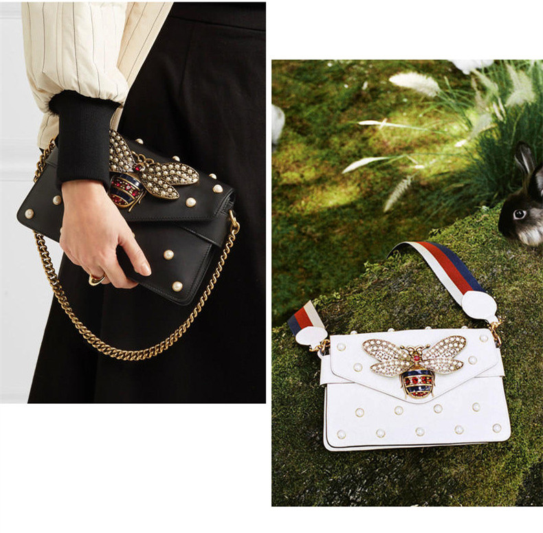Luxury Branded Designer Handbag Women Genuine Leather Pearl Studded Mini Broadway Bee Shoulder Bag Clutch (7)