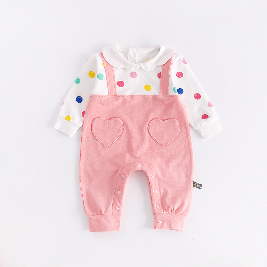 peninsula baby new autumn winter rompers colorful point cute baby climbing clothing thick cotton long sleeved toddler jumpsuit warm thicken baby rompers long sleeve organic cotton autumn