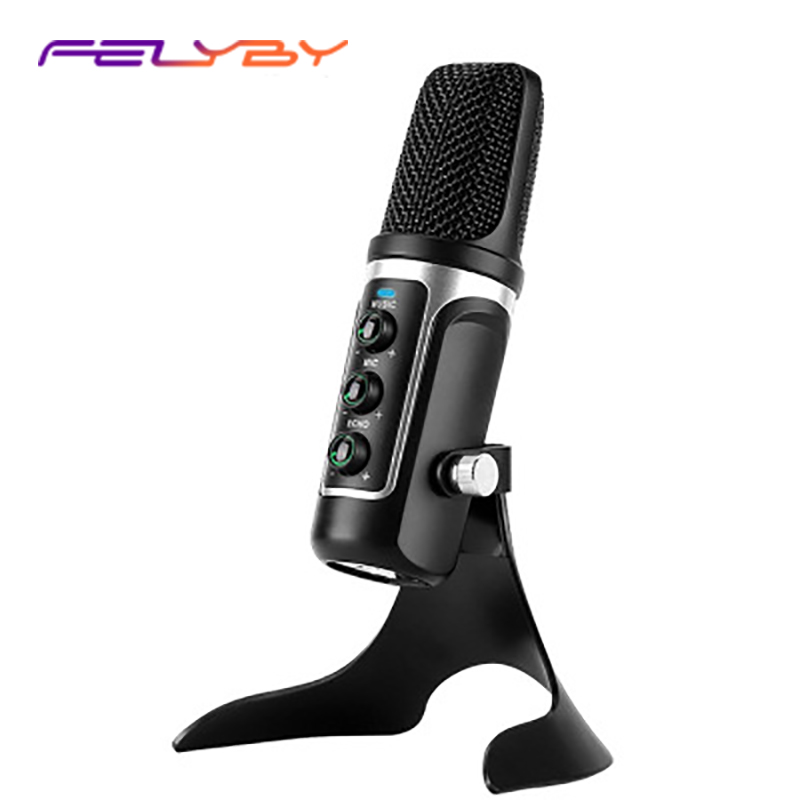 FELYBY USB condenser microphone comes with sound card computer plug and play real-time monitor microphone recording conference tyless usb plug computer tabletop omnidirectional condenser boundary conference microphone for recording gaming skype voip call