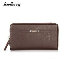 Baellerry Luxury Business Wallet Men Leather Purses Zipper Long Male Wallet High Capacity Clutch Money Bag