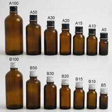 200 x 5ml 10ml 15ml 20ml 30ml 50ml 100ml Amber Boston Round Glass Essential oil Bottle With Black Silver Lids PE insert