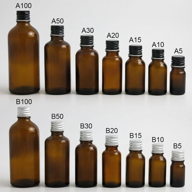 200 x 5ml 10ml 15ml 20ml 30ml 50ml 100ml Amber Boston Round Glass Essential oil Bottle With Black Silver Lids PE insert